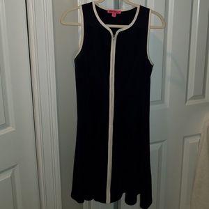 BETSY JOHNSON Navy Blue Front Zipper Dress
